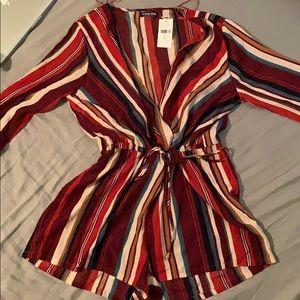 7c4f22358632 Fashion Nova Pants - NEW burgundy striped romper